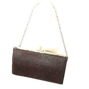 J Crew Snakeskin Leather Silver Tone Clutch Bag